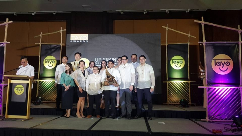 UP GRAINS, one of the Ten Accomplished Youth Organizations for 2017, receive their trophy during the TAYO Awarding Ceremony on 22 February 2018.